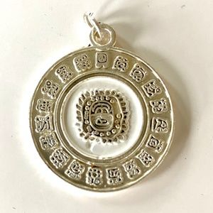 Silver Plated Mayan Zodiac Necklace Pendant